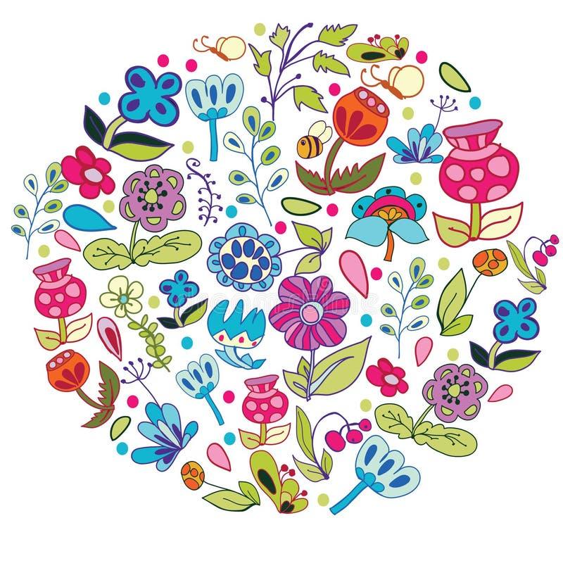 Fondo con las flores del dibujo ilustración del vector