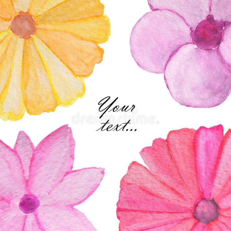 Fondo con las flores lindas de la acuarela Saludo, tarjeta de la invitación, cubierta del cuaderno ilustración del vector