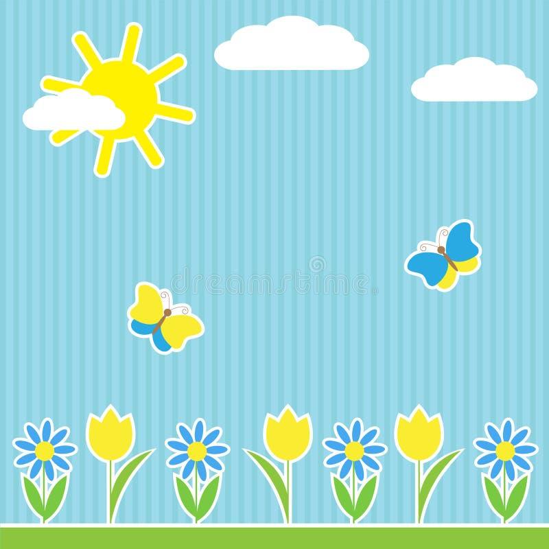 Fondo con las flores y las mariposas stock de ilustración