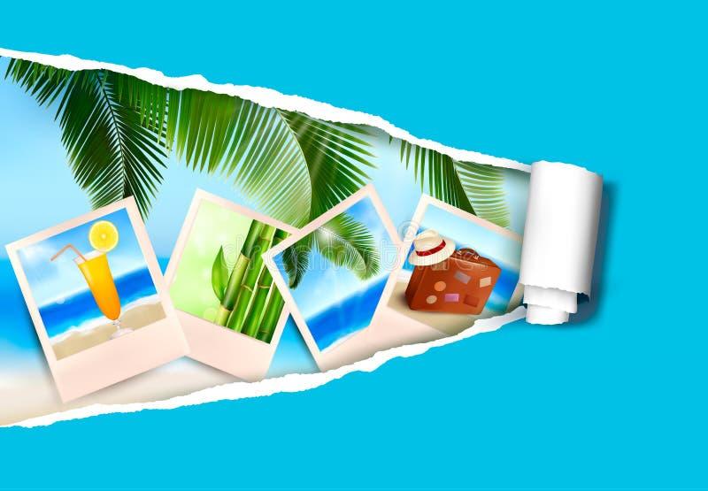 Fondo con las fotos a partir de días de fiesta en una playa stock de ilustración
