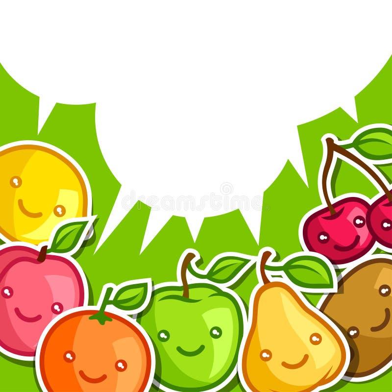 Fondo con las frutas sonrientes del kawaii lindo stock de ilustración