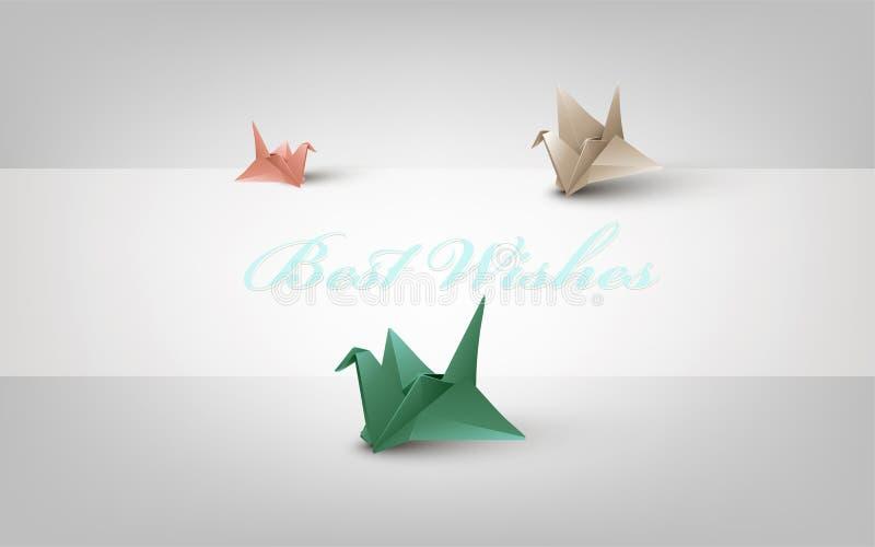 Fondo con las grúas de papel coloreadas ilustración del vector