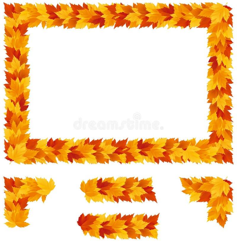 Fondo con las hojas de arce del otoño stock de ilustración
