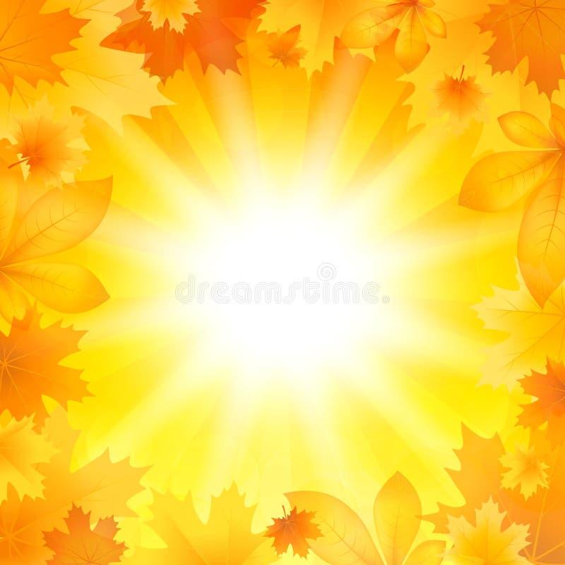 Fondo con las hojas de otoño stock de ilustración