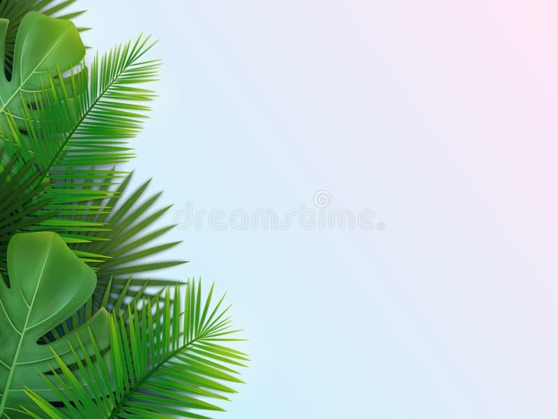 Fondo con las hojas tropicales fotografía de archivo