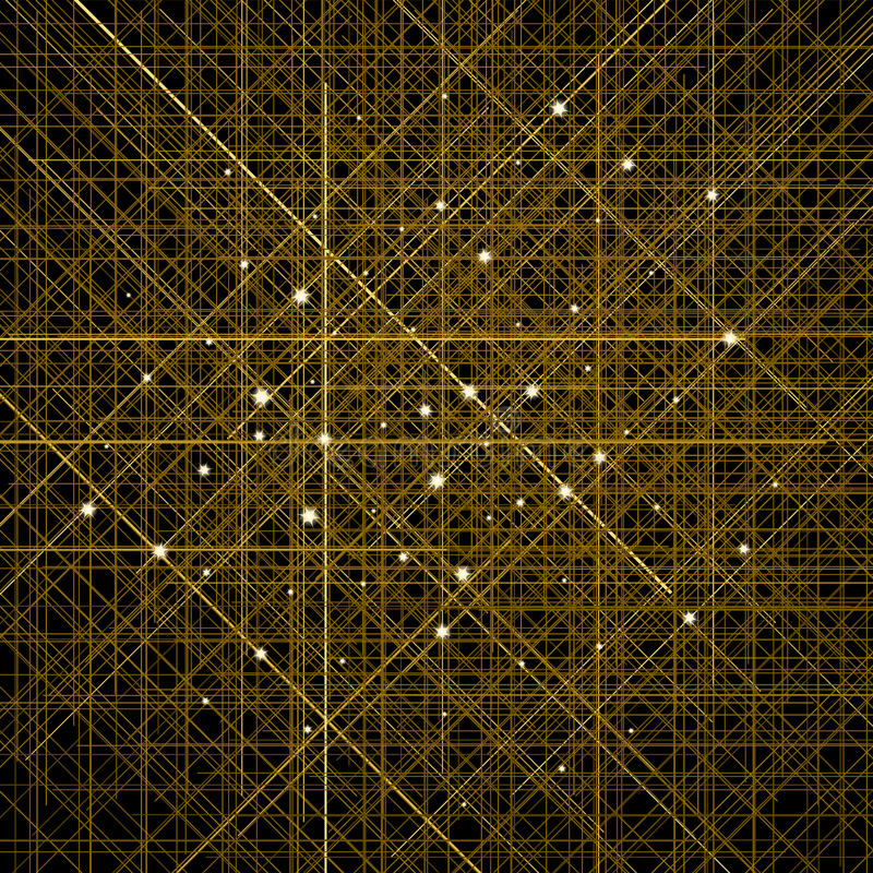 Fondo con las líneas cruzadas de oro finas Estructura celular de contornos stock de ilustración