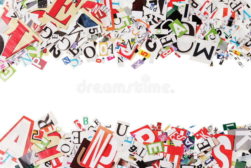 Fondo con las letras de los periódicos imágenes de archivo libres de regalías