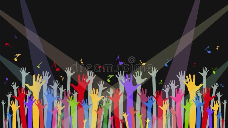 Fondo con las manos del ` un s de la fan, las notas y las luces para los conciertos, el PE libre illustration