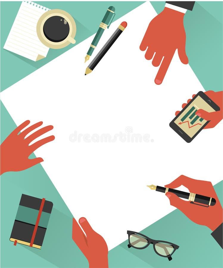 Fondo con las manos, vector de la reunión de negocios libre illustration