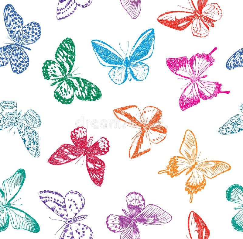 Fondo con las mariposas stock de ilustración