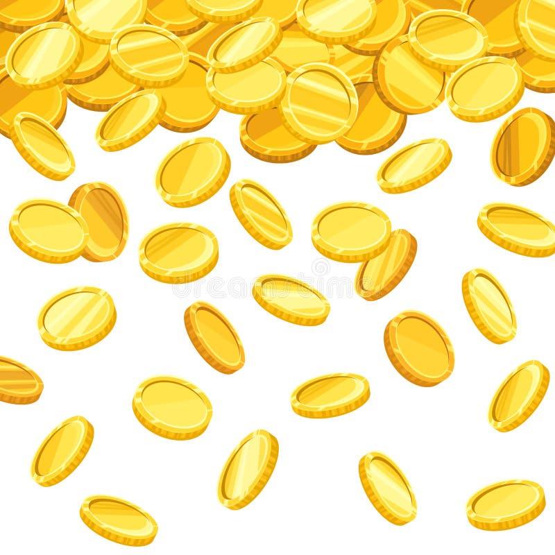 Fondo con las monedas de oro que caen Ilustración del vector ilustración del vector