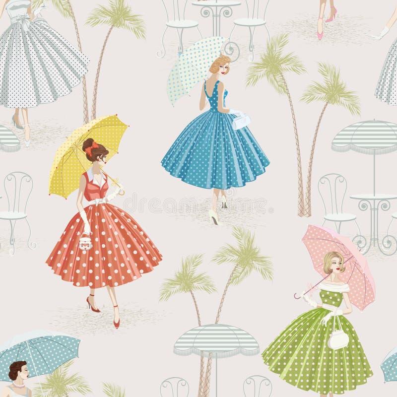 Fondo con las mujeres que recorren con los parasoles stock de ilustración