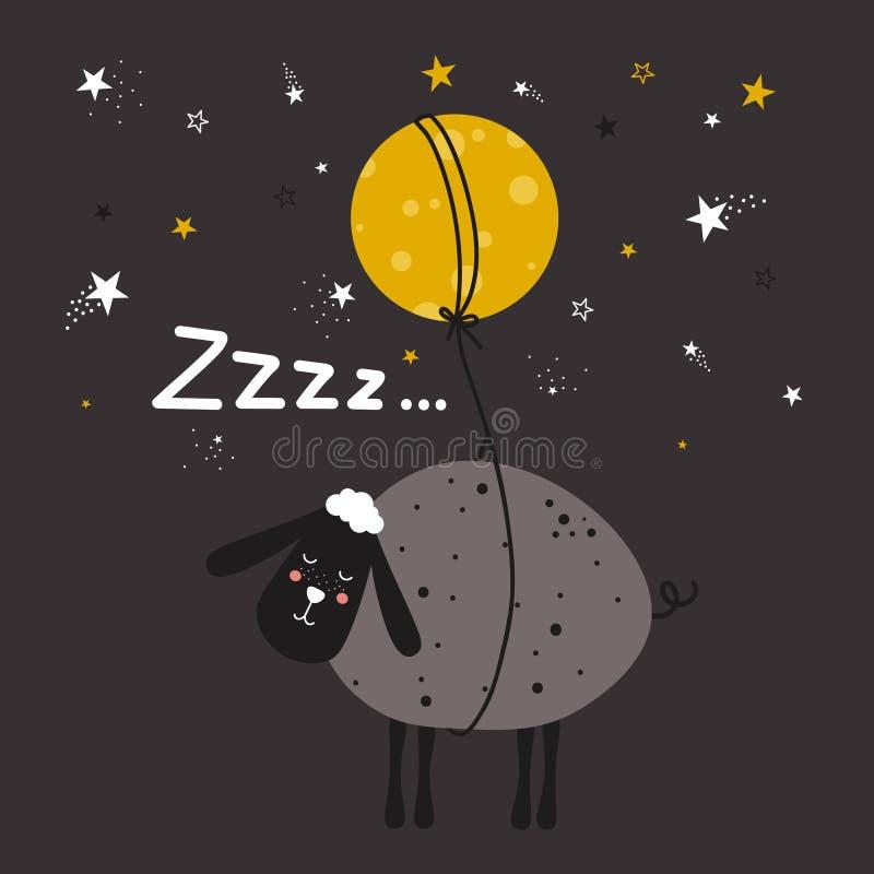 Fondo con las ovejas, la luna, las estrellas y el texto Buenas noches, diseño del cartel ilustración del vector