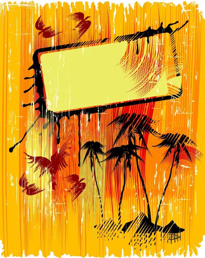 Fondo con las palmas stock de ilustración