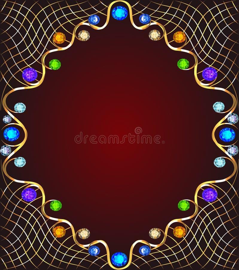 Fondo con las piedras preciosas, el ornamento de oro y las estrellas ilustración del vector