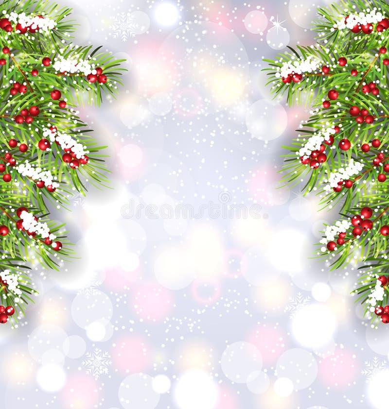 Fondo con las ramas de árbol de abeto, bandera que brilla intensamente de la Navidad por Feliz Año Nuevo ilustración del vector