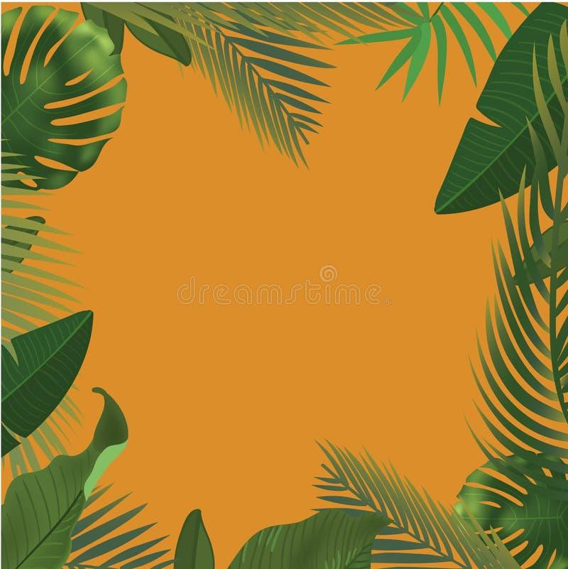 Fondo con las ramas de hoja de palma verdes realistas en fondo anaranjado Endecha plana, visión superior stock de ilustración