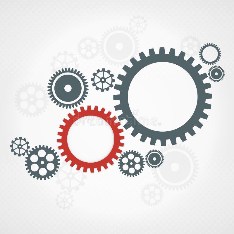 Fondo con las ruedas de engranaje. Concepto del trabajo en equipo. stock de ilustración