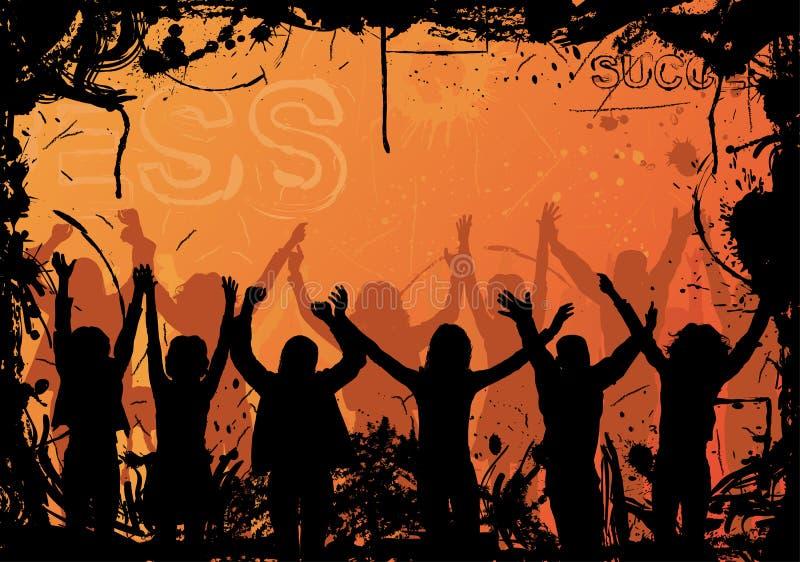 Fondo con las siluetas de salto, vector de Grunge libre illustration