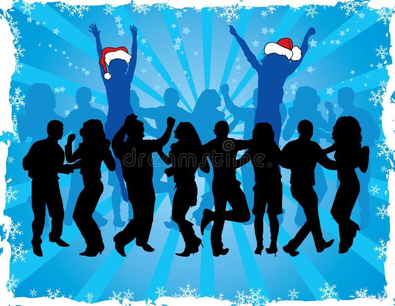 Fondo con las siluetas del baile, vector de la Navidad ilustración del vector