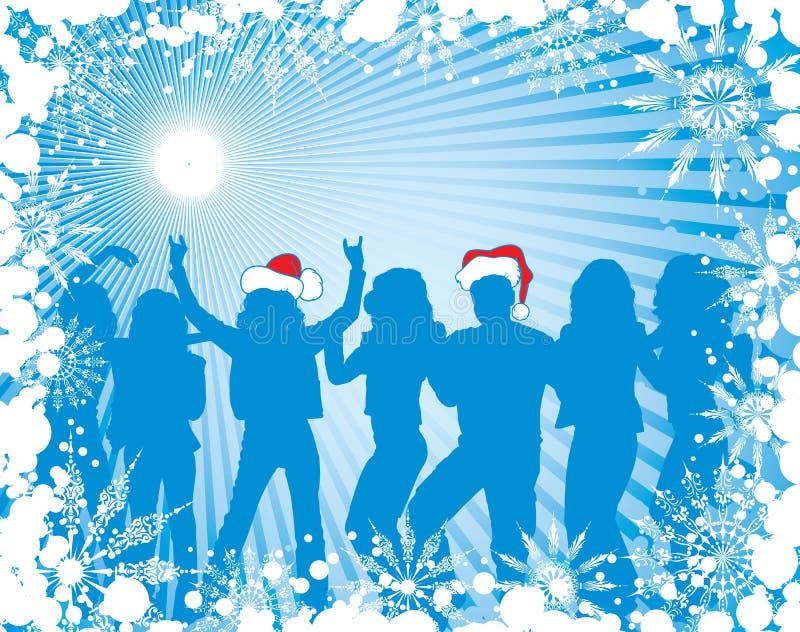 Fondo con las siluetas, vector de la Navidad ilustración del vector