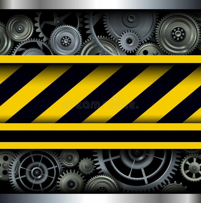 Fondo con le bande e gli ingranaggi d'avvertimento illustrazione vettoriale