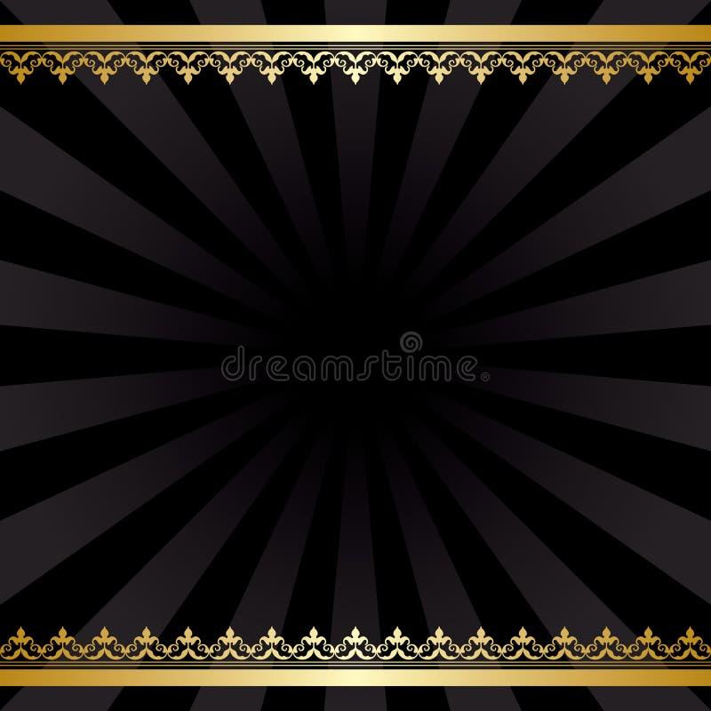 Fondo con le decorazioni dell'oro ed i raggi - annata nera illustrazione di stock