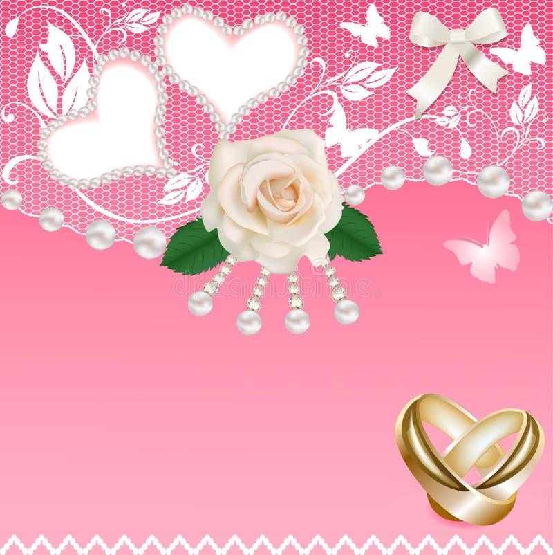 Fondo con le fedi nuziali e le perle rosa del cuore illustrazione di stock