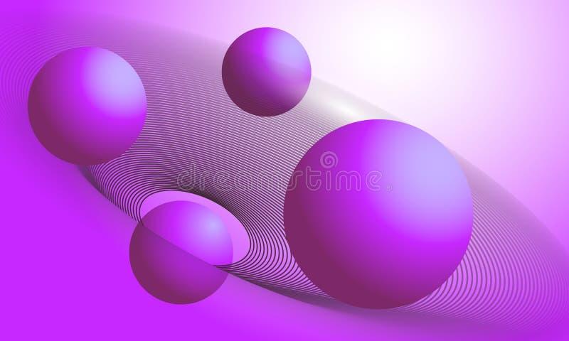 Fondo con le forme delle palle e dei cerchi di pendenza 3d Aletta di filatoio astratta futuristica del modello, manifesto, presen illustrazione vettoriale
