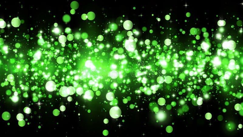 Fondo con le particelle verdi di scintillio Bello modello del fondo di festa per progettazione premio Particella leggera verde in illustrazione vettoriale