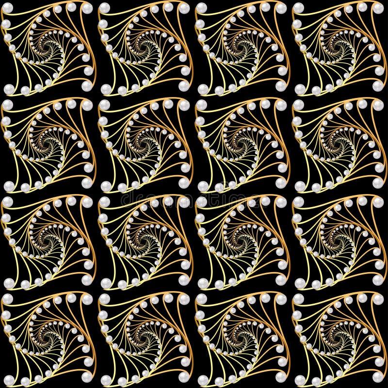 Fondo con le spirali dorate con le perle illustrazione di stock