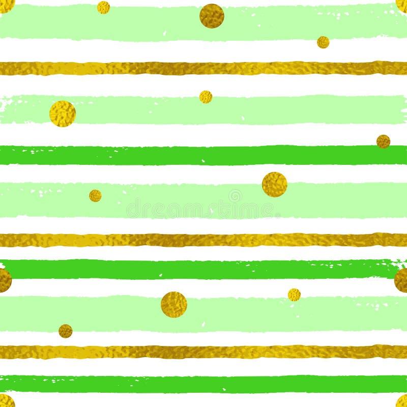 Fondo con le strisce verdi e dorate illustrazione vettoriale