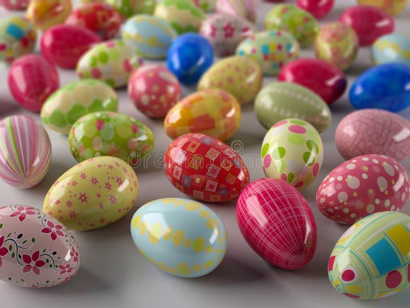Fondo con le uova di Pasqua colorate illustrazione vettoriale