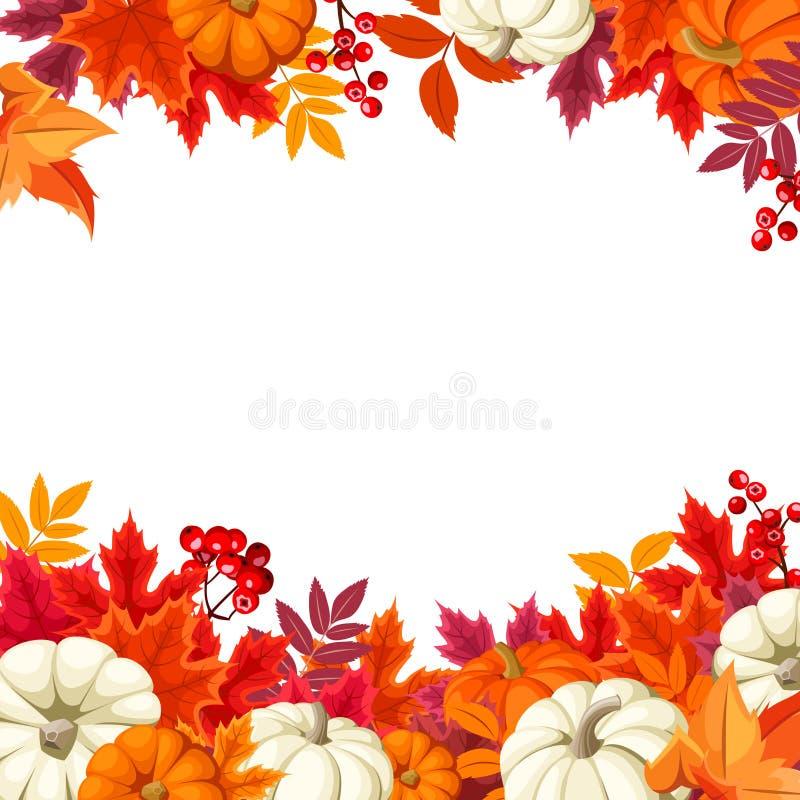 Fondo con le zucche arancio e bianche e le foglie di autunno variopinte Illustrazione di vettore illustrazione vettoriale