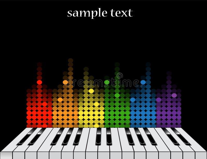 Fondo con llaves del piano y el equalizador colorido stock de ilustración
