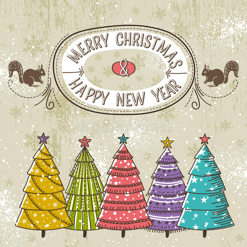 Fondo con los árboles de navidad y etiqueta con el tex ilustración del vector