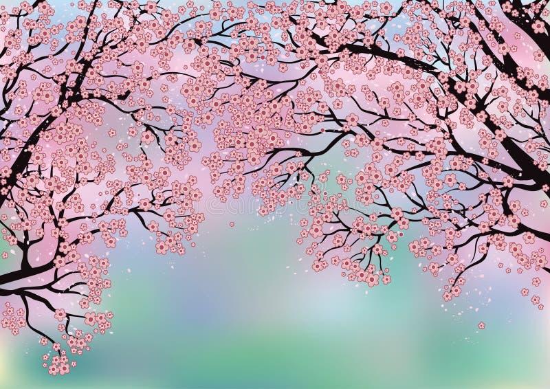 Fondo con los árboles florecientes stock de ilustración