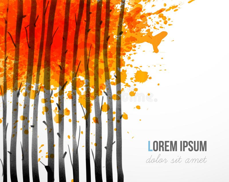 Fondo con los árboles forestales del otoño y lugar para su texto stock de ilustración