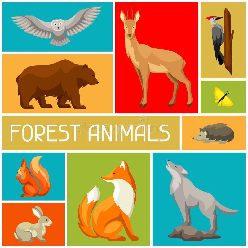 Fondo con los animales y los pájaros del bosque del arbolado Ilustración estilizada stock de ilustración