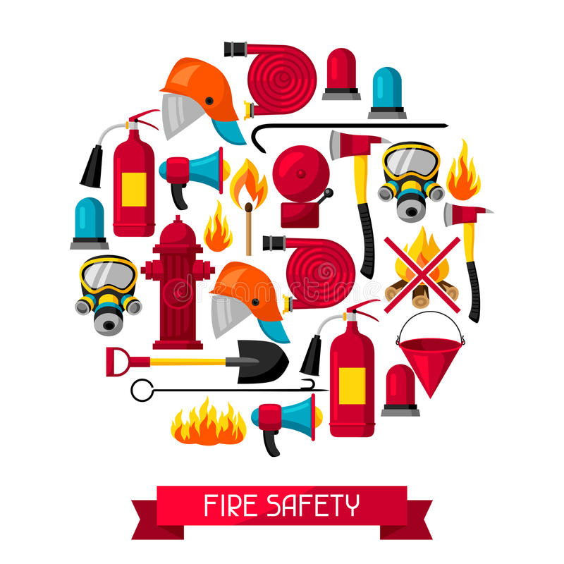 Fondo con los artículos contraincendios Equipo de la protección contra los incendios libre illustration