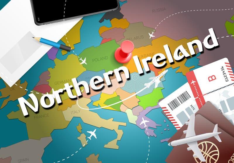 Fondo con los aviones, señal del mapa del concepto del viaje de Irlanda del Norte libre illustration