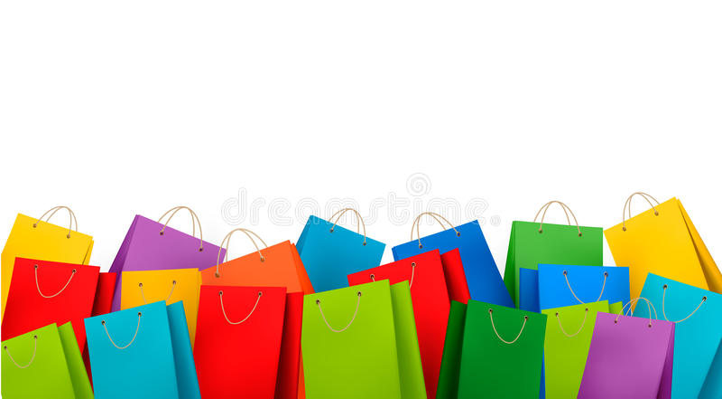 Fondo con los bolsos de compras coloridos. Descuento c stock de ilustración