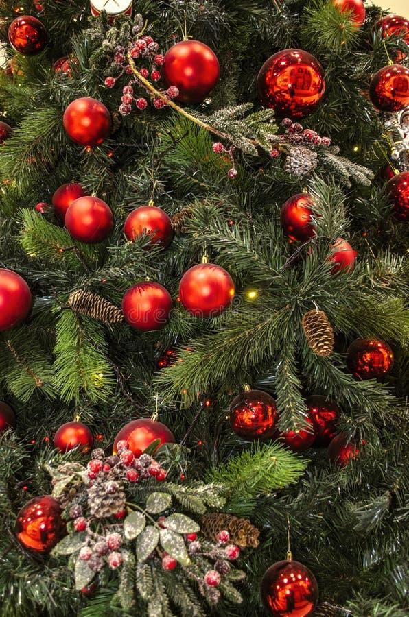 Fondo con los conos y las bolas rojas, con las bayas rojas en una ramita, guirnaldas que brillan intensamente en ramas del pino foto de archivo libre de regalías