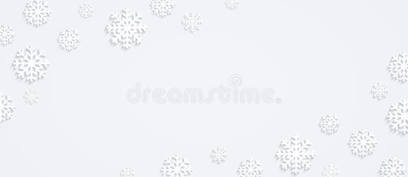 Fondo con los copos de nieve, composición horizontal del invierno, diseño plano de copos de nieve, visión superior de la Navidad stock de ilustración