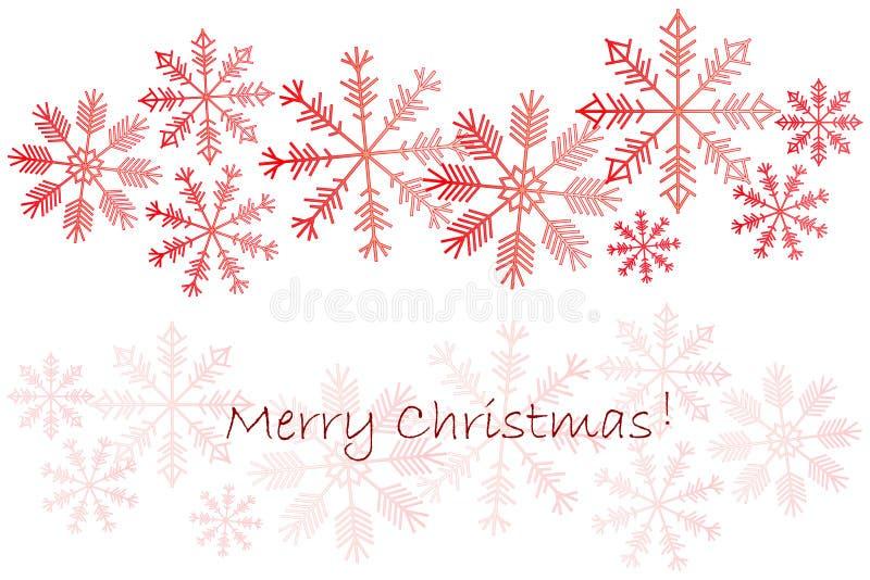 Fondo con los copos de nieve rojos en el ejemplo del vector de la acción de la Feliz Navidad blanca, stock de ilustración
