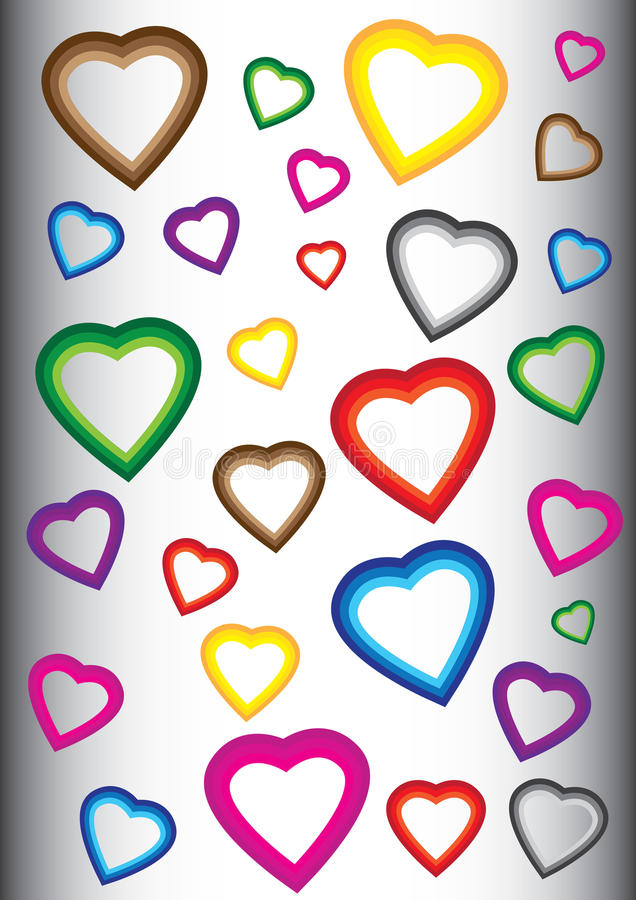 Fondo con los corazones coloridos stock de ilustración