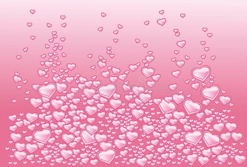 Fondo con los corazones como burbujas del champán stock de ilustración