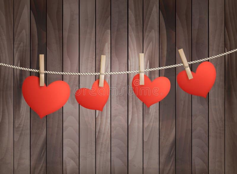 Fondo con los corazones rojos en textura de madera stock de ilustración