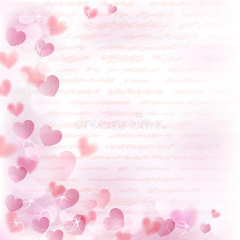 Fondo con los corazones rosados stock de ilustración