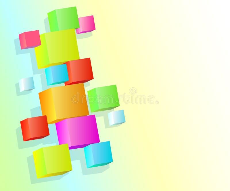 Fondo con los cubos multicolores volumétricos 3d Ilustración del vector ilustración del vector